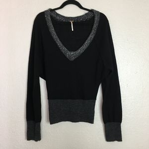 Free People black grey sequin trim sweater v neck
